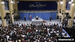 Supreme Leader, Ayatollah Ali Khamenei, gives a speech to hand-picked students on Wednesday 22, 2019.