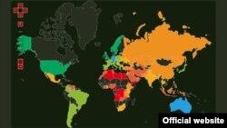 نقشه منتشرشده همراه با گزارش شاخص ریسک فساد دفاعی سازمان «شفافیت بینالملل».