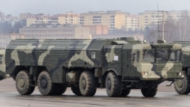 A Iskander ballistic missile launcher at a military parade in Alabino outside Moscow.