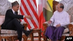 Burmese President Thein Sein (right) meeting with U.S. President Barack Obama in Yangon last year.