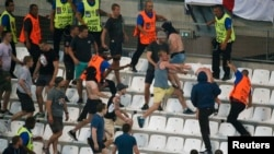 Violence broke out after the England-Russia soccer match when a group of what appeared to be Russian fans charged at England supporters in the stadium and broke through security barriers meant to separate rival supporters.