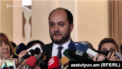 Education Minister Arayik Harutiunian speaks to the media on November 7.