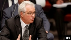 Russian Ambassador to the UN Vitaly Churkin at the UN on August 10