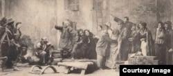 Сцена из спектакля МХТ «На дне». Фотография с почтовой открытки. 1904.