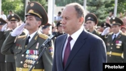 Armenia - Defense Minister Seyran Ohanian addresses soldiers and officers.