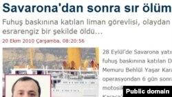 Яшар Караджаның жұмбақ қазасы туралы мақала шыққан түріктің www.haberturk.com веб-сайтынан көрініс.