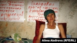 Bibigul Bektursynova, an education worker, conducts a hunger strike in Kazakhstan