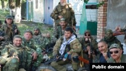 Russia -- Eduard Gilyazov (C), pro-Russian fighter with his fellow separatist fighters in Eastern Ukraine