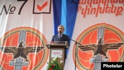 Armenia - President Serzh Sarkisian addresses an election campaign rally in Yerevan, 3May2012.