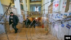 La ora deblocării clădirii Primăriei din Kiev...