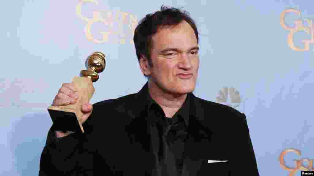 """Redatelj Quentin Tarantino dobio je Zlatni Globus za najbolji scenarij, za film """"Odbjegli Django"""", Beverly Hills, 13, januar 2013. Foto: REUTERS / Lucy Nicholson"""