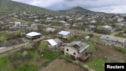 Nagorno-Karabakh -- An aerial view shows a settlement in Martakert district, which was affected by fighting, April 4, 2016