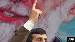 Iran -- President Mahmud Ahmadinejad speaks at a rally to mark the 29th anniversary of the Islamic revolution in Tehran, 11Feb2008