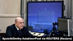 Premierul rus Mihail Mișustin la videoconferința din 30 aprilie 2020.