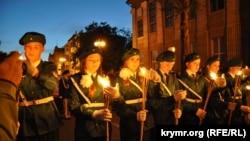 Факельное шествие в Керчи накануне Дня победы, 8 мая 2014 года