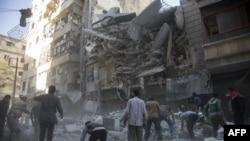 Алеппо маңындағы Әл-Шаар ауданы. Сирия, 27 қыркүйек 2016 жыл.