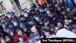 Russian police break up a rally in support of free assembly in Moscow.