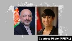 اینه اریکسون سوریده وزیر امور خارجه ناروی (راست) و محمد حنیف اتمر سرپرست وزارت خارجه افغانستان.