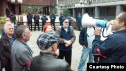 Протест на движењето Но пасаран пред Апелациониот суд во Скопје против плаќањето парно од исклучените