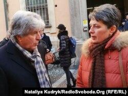 Адвокат Рафаелле Делла Валле з матір'ю підсудного нацгвардійця Віталія Марківа Оксаною Максимчук