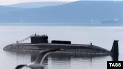 The Borei class nuclear-powered ballistic missile submarine Yury Dolgoruky in 2014