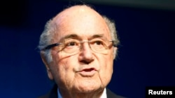 FIFA President Sepp Blatter announces he will resign at a press conference in Zurich on June 2, 2015.