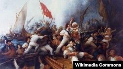 Лейтенант Стивен Декейтар (внизу в центре) в смертельной схватке с триполитанским капитаном. 3 августа 1804 года. Художник Деннис Мэлон Картер