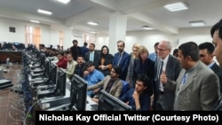 NATO and UK diplomats visited Afghanistan Independent Election Commission National Tally and Data Center on October 6.
