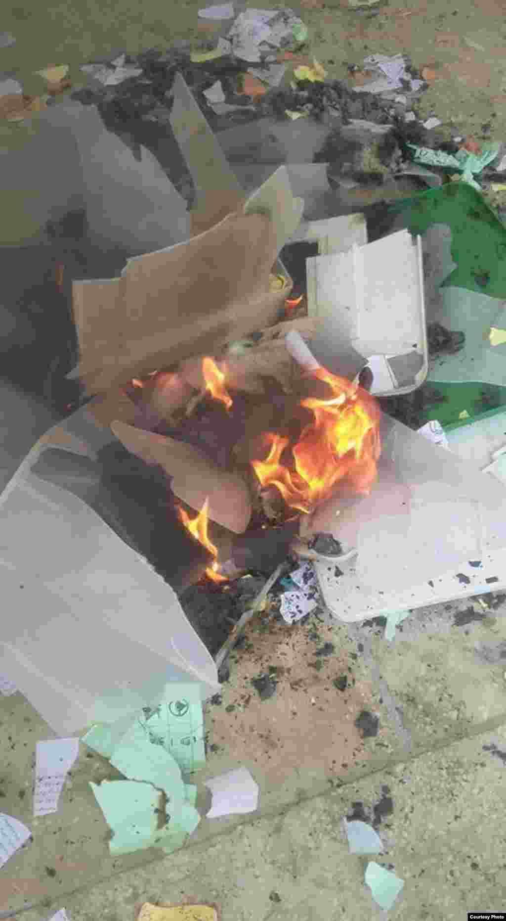 K.Pashtunkhwa: Ballot paper and ballot box burned out in Noshera. 1MAY2015