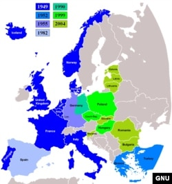 Harta extinderii NATO în Europa