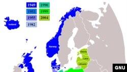 C 1999 года НАТО прирастилось многими новыми членами (выделены оттенками зеленого) и останавливаться на достигнутом не собирается