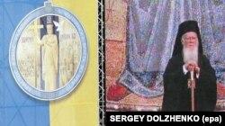 На екрані (праворуч) відеовідображення Вселенського патріарха Варфоломія I під час урочистостей з нагоди 1020-річчя Хрещення України-Руси. Київ, 26 липня 2008 року