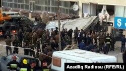 The scene of the explosion in Baku