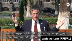 Armenia - A screenshot of U.S. Ambassador John Heffern's video blog, Yerevan, 7Aug2012.
