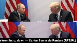 Сустрэча Ўладзіміра Пуціна з прэзыдэнтам ЗША Дональдам Трампам: зьверху фота з сайта kremlin.ru, зьнізу фота Карласа Барыі для Reuters