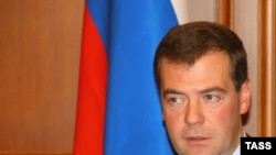 Dmitry Medvedev speaks during a meeting on preparations for the 2014 Sochi Winter Olympics