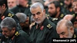 FILE - Revolutionary Guard Gen. Qassem Soleimani, with other IRGC commanders in Tehran. 2016