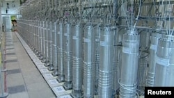 A bank of centrifuges are seen in an image from 2012 that is described by Iranian state television as showing a facility in Natanz.