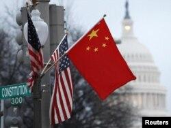 Zastave Kine i SAD - ilustracija