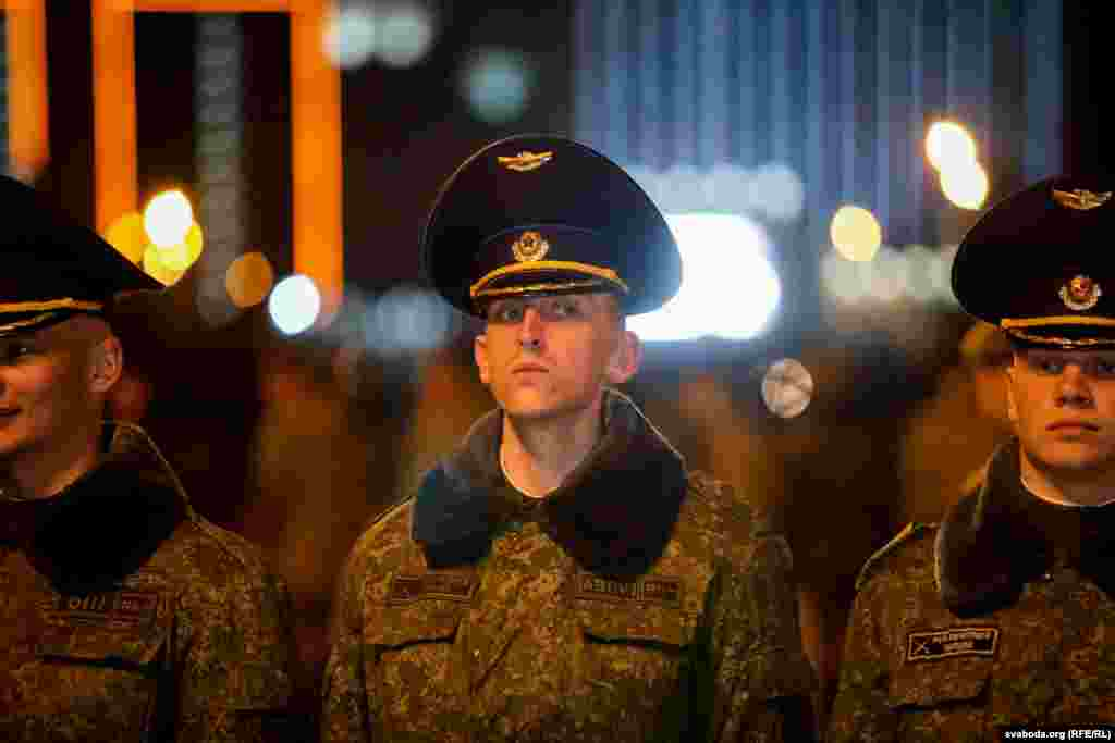 A Belarusian soldier during parade rehearsal.