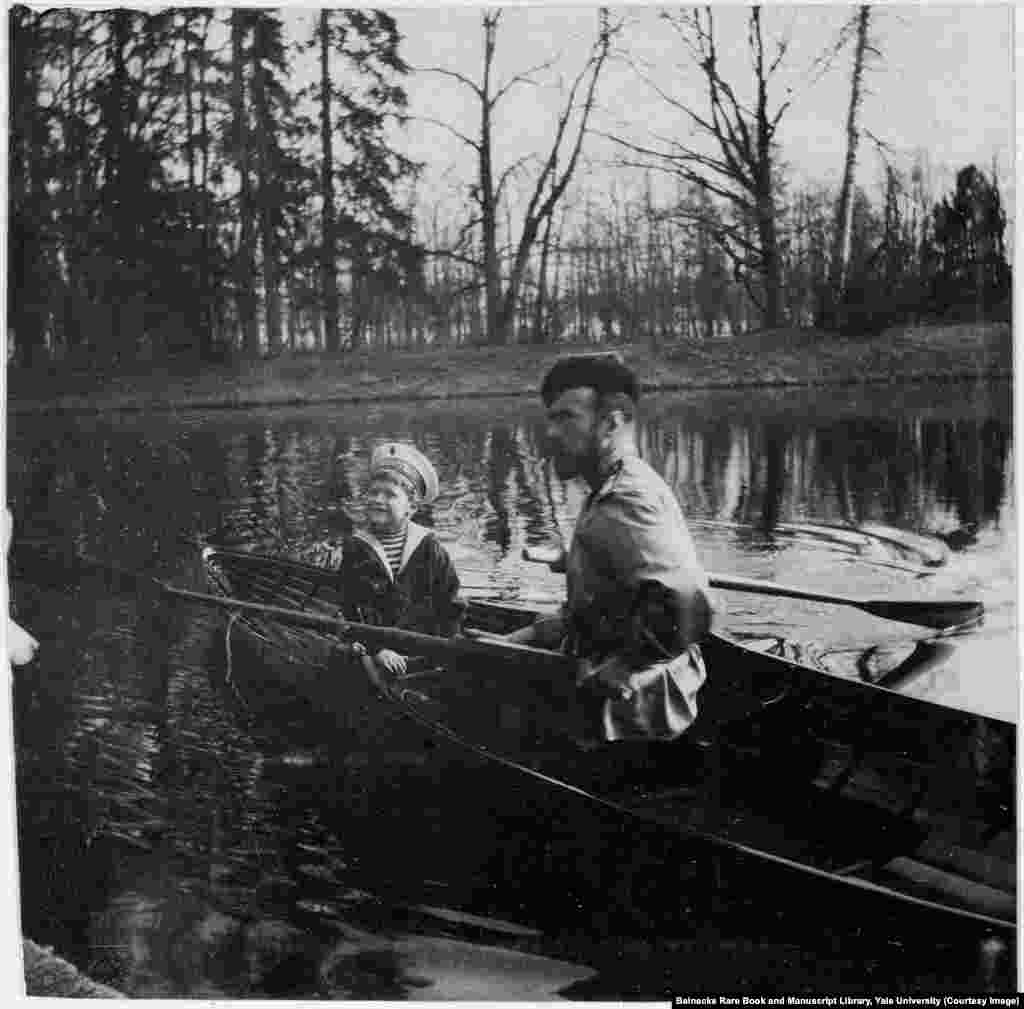 Tsar Nicholas II and his son, Aleksei, near St. Petersburg. The young heir suffered from hemophilia, a genetic disorder that prevents blood from clotting.