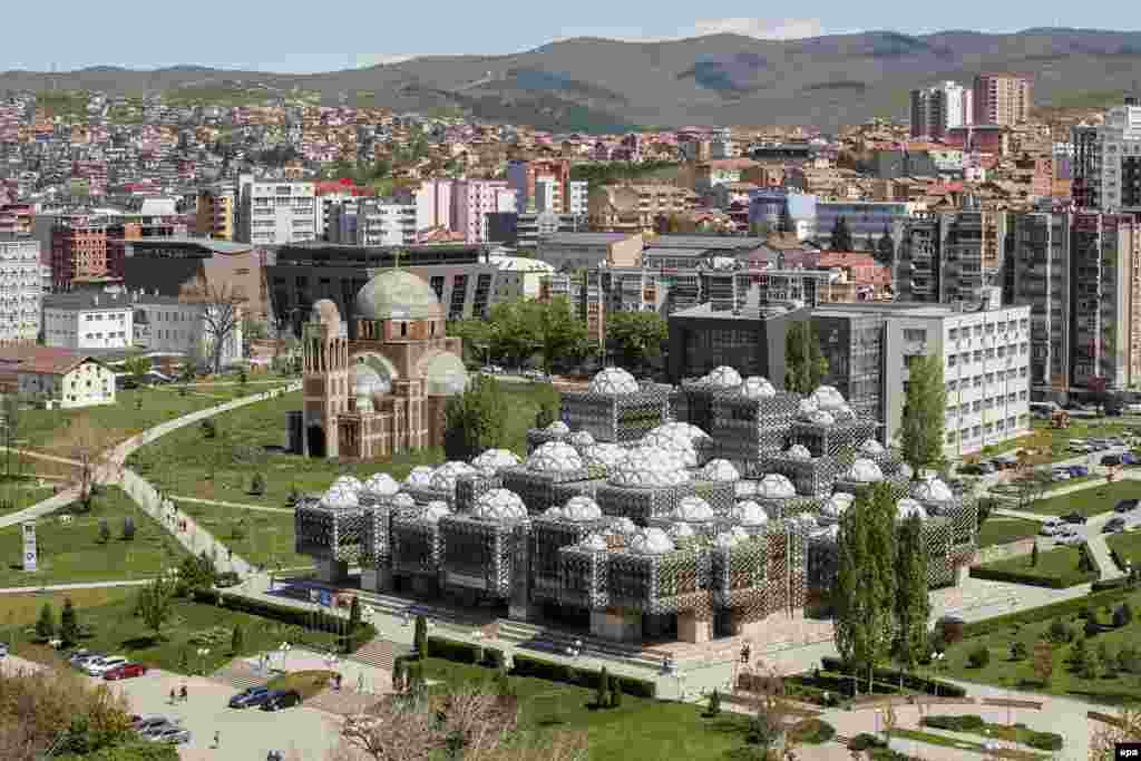 Kosovo's state library in Pristina. Decades after the wars that ended with the breakup of Yugoslavia and following a 2018 exhibition at the Museum of Modern Art in New York, interest in brutalist architecture of the Balkans has reportedly spiked.