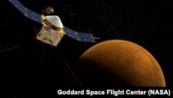 МАВЕН көлүгү Марстын жанында (иллюстративдик сүрөт).