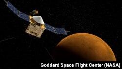 Иллюстрация приближения спутника MAVEN в Марсу.