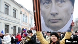 Акция в поддержку действий руководства России по отношению к Украине. Москва, 2 марта 2014 года