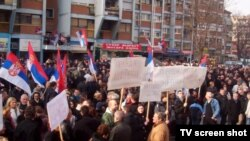 Mitrovica e Veriut - Protesta e organizuar në përkrahje të Olliver Ivanoviq, pas arrestimit të tij (Ilustrim)