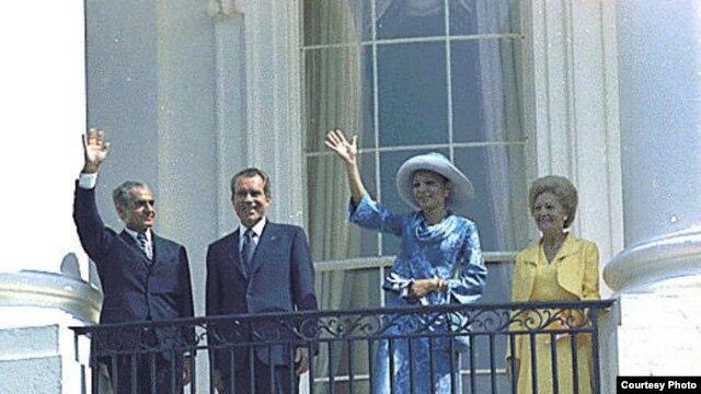 محمد رضا شاه پهلوی و فرح دیبا  به همراه ریچارد نیکسون و همسرش