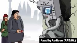 """""""Düşünən bankomat"""". Karikatura. Gündüz Ağayev."""