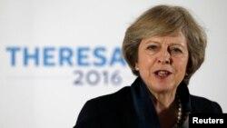 Британиянын Консерваторлор партиясынын лидерин тандоо кампаниясы учурунда Бирмингэмдеги Инженерия жана технология институтунда сөз сүйлөп жаткан Тереза Мэй. 11-июль, 2016-жыл.