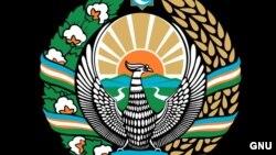 Птица Хумо с распростертыми крыльями изображена в центре герба Узбекистана.